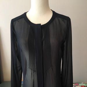 Banana Republic long sleeve Navy sheer blouse